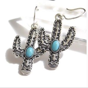 925 cactus gemstone earrings